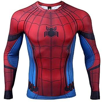 Civil War Long Sleeve Spiderman Compression Shirt 3D Print Men s Gym Top  X-Large Blue