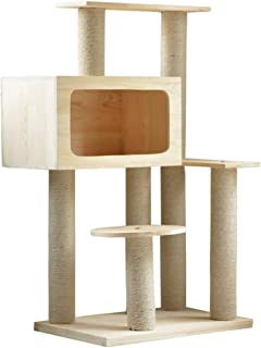 Cat Tree Wooden Cat ClimbingTower with Heavy Duty Sisal Activity Centre with Extra Post Dangling Toy for Kittens & Pets Use in All Year
