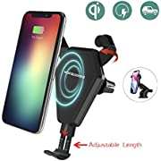 Wofalodata Fast Wireless Charger, Car Mount Air Vent Phone Holder Cradle for Samsung Galaxy S8/S8+/S7/S6 Edge+/Note 5, QI Wireless Standard Charge for iPhone 8/8 Plus/X