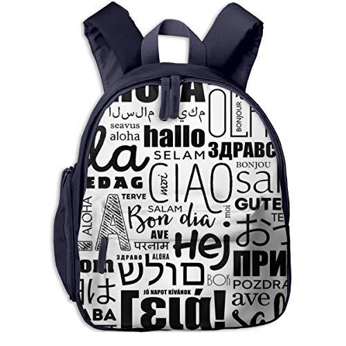 Kinderrucksack Kleinkind Jungen Mädchen Kindergartentasche Indische Hello Word Cloud Sprachen Backpack Schultasche Rucksack
