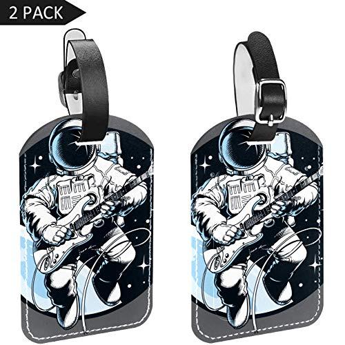 LORVIES Astronaut Het spelen van elektrische gitaar in de ruimte Bagage Tags Reizen Labels Tag Naam Kaarthouder voor Bagage Koffer Tas Rugzakken, 2 PCS