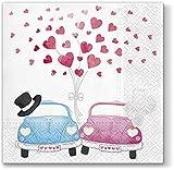 20 Servietten Autos unter Herzregen/Hochzeit/Liebe/Herzen 33x33cm