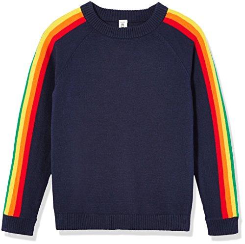Kid Nation Boys' Sweater Cotton Soft Cute Crew Neck Unisex Sweatshirt with Rainbow Navy 10-12Y