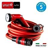 FITT YOYO Go Tubo Acqua da Giardino Estensibile per Irrigazione con Pistola Multigetto e Zainetto da Trasporto, Rosso, 10m