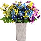 YYHMKB Flor Artificial Margarita de Seda sintética Flores Falsas Verdor Arbustos Plantas Jardinera de Interior Decoración de jardín para el hogar 6 Piezas Pequeña Margarita-púrpura + Azul + Blanco-5