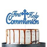 Royal Blue Glitter First Holy Communion Cake Topper, Baptism/Christening/Confirmation/Baby Shower/Birthday/Communion Party Decoration