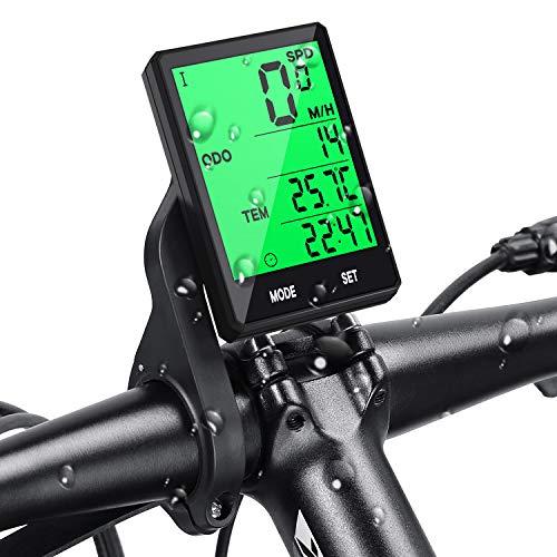 Contatore per Bicicletta, Computer di Bicicletta Senza Fili, Impermeabile, Display LCD, Retroilluminato, Multifunzione, Contachilometrico, Temperatura, Velocità, Facile da Montare Prumya