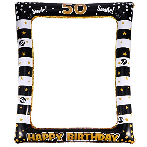 VALICLUD 50 ° Compleanno Cornice per Foto 50 ° Compleanno Selfie Cornice per Cabina Fotografica Cornice Gonfiabile Selfie Cornice per Feste Foto Stand Puntelli Cornice 50 ° Compleanno