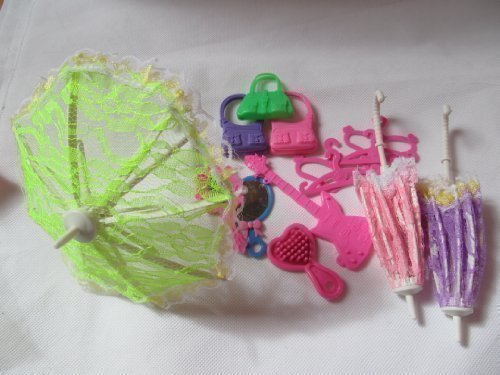 fat-catz-copy-catz 15 stück Made for Barbie Puppen größe zubehör: Schirm, Handtasche, Brush, Spiegel, Guitar, kleiderbügel & Schuhe