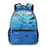 Sea Creature School Backpack Students Bookbag Teens Backpacking Daypack For Boys Girls