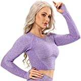 starbild maglia sportiva da donna a manica lunga maglie maglieria senza cuciture camicie t-shirt corta sotto maglie magliette abbigliamento canotta corsa, b-viola scuro s