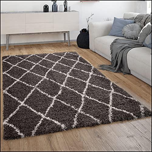 Alfombra Salón Pelo Largo Shaggy Pelo Largo Escandinava Rombos Moderna, tamaño:80x150 cm, Color:Gris