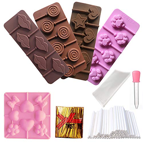 Fantastic Prices! RETON 5 Pcs Silicone Lollipop Mold Candy Tray Chocolate Mould with Shape of Cat Cl...