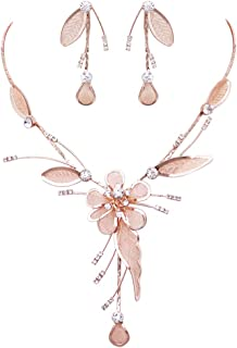 Rosemarie Collections Women's Stunning Floral Metal Mesh Statement Dangling Necklace and Earring Set