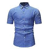 Chemise carreaux pour hommes Chemise manches courtes pour hommes Chemise revers de base Loisirs Coupe normale Chemises manches courtes carreaux Chemise manches courtes Chemises Sweat T-shirt Tops XXL