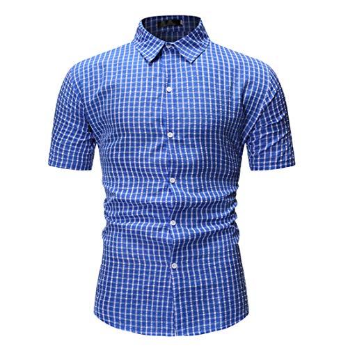 Tradicional Camisa Hombre Verano Moderno Botón Placket Hombre Shirt Moda Rayas/Cuadros Manga Corta Henley Camisa Urbana Ajustado Negocios Casual Hombre Camisa I-Blue3 L