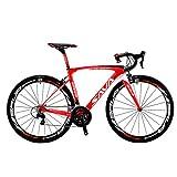 SAVADECK HERD6.0 700C Bicicleta de Carretera de Fibra de Carbono Shimano 105 R7000 22S Sistema de transmisión Michelin Neumático Fizi:k Sillín (Rojo Blanco, 52)