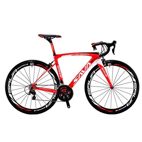 SAVADECK Carbon Rennrad, Herd 6.0 T800 Kohlefaser 700C Rennrad Shimano 105 R7000 Groupset 22 Geschwindigkeit Kohlenstoff Radsatz Sattelstütze Gabel Ultra-Licht Fahrrad (Rot Weiß, 54cm)