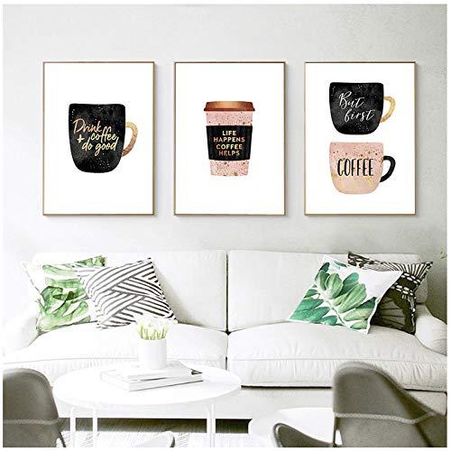 MULMF Koffie Mokken Canvas Poster Nordic Wall Art Parfum met gouden letter Print Schilderen Home Decoratie Foto Home Decor- 50X70Cmx3 Geen Frame