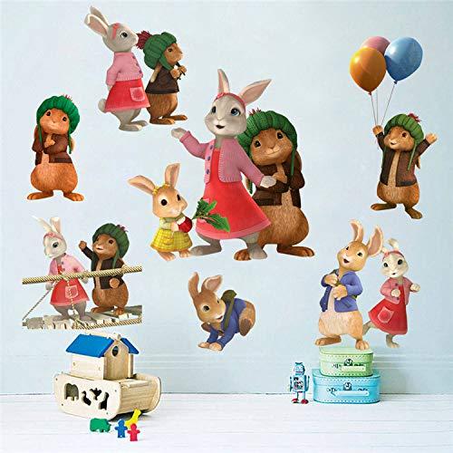 GOGR Dibujos Animados en 3D Peter Conejo Conejo Conejo Anime Mural Linda decoración de la habitación de los niños Pintura Maleta Pared Pegatina Impermeable Pegatina 60 * 45cm