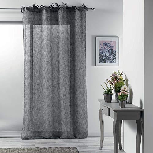Douceur d'Interieur 140 x 240 cm Woven Voile Tab Top Curtain, Charcoal