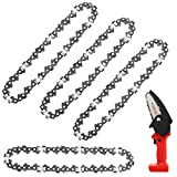 Honoson 4 Pieces 4 Inch Mini Chainsaw Replacement Cordless Electric Portable Chainsaw Chain, 24 V Mini Cordless Electric Chainsaw Pruning Shears Chainsaw for Branch Wood Cutting