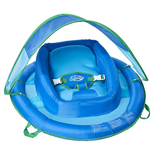 SwimWays Infant Baby Spring Float with Adjustable Sun Canopy  Blue