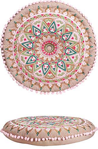 Orientalische Kissen Bodenkissen Bunt aus Baumwolle ø 55cm inklusive Füllung | Marokkanisches Sitzkissen Sitzpouf Badar -1- Rund | Orientalisches rundes Yogakissen Meditationskissen bestickt