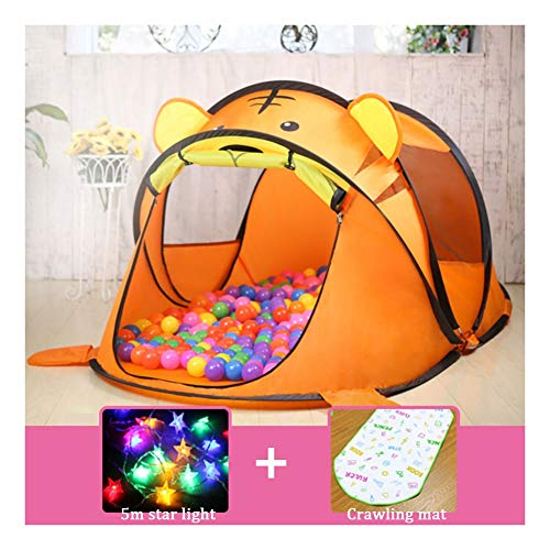 Logo Indoor Game Tent, outdoor Tent Children's Tent Indoor And Outdoor Toy Game House Princess Baby Play House Girl Folding Big House Tent (Color : Tiger, Size : 4)