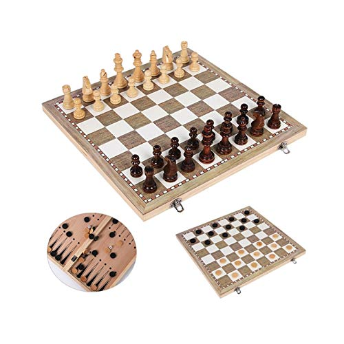 OYPY Wooden Backgammon Checkers Chess Set, 3 In 1 Travel Game Wooden Chess Pieces And Board For Kids And Adult (Color : 24x24 cm)