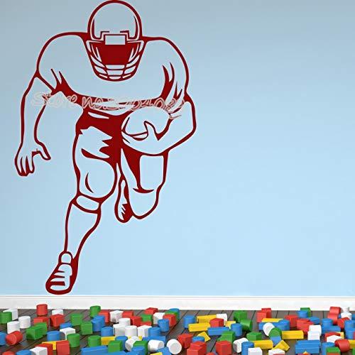YIYEBAOFU Alphabet muurtattoo's rood, hobby American football speler hobby sport muurtattoos sport spelletjes jeugdkamer woonkamer vinyl d