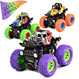 Monster Trucks Toys for Boys 3PCS Inertia Pull Back Toy Cars Friction Powered Vehicles Toys for Boys Girls Toddler 2 3 4 5 6 7 Year Old Kids Birthday Christmas Toys Gifts (Purple, Green, Orange)
