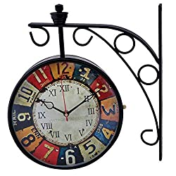Antique Double Sided Victoria London Railway Wall Clock   8 inch Dial   Color : Black