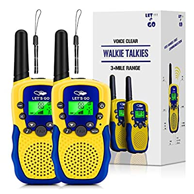 Walkie Talkies for Kids Boys Girls, Kids Walkie Talkies Long Range Walkie Talkies for Kids Popular Hottest Outdoor Toys for 3-12 Year Old Boys Kids Best Gifts for Boys Yellow Blue OWUSDD09