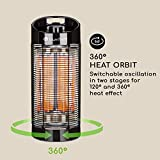 blumfeldt Heat Guru 360 - Standheizstrahler, Infrarotheizstrahler, Heizstrahler, 600 W oder 1200 W Leistung, 360° oder 120° Oszillation, IPX4, für drinnen und draußen, ca. 2.9 kg, schwarz