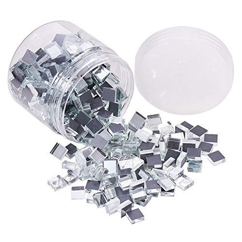 PandaHall Elite Cerca De 350 Piezas/Caja Transparente Cuadrado Decorativo Pared Cristal Espejos Mosaico Azulejos Cabujones Para Decoración Del Hogar Y Manualidades
