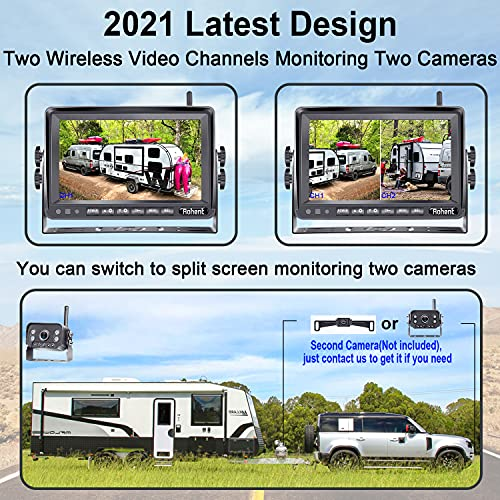Wireless Backup Camera for RV HD 1080P with 7 Inch DVR Monitor High-Speed Rear View Observation System for RVs Trucks Trailers 5th Wheels with Adapter Compatible with Furrion Pre-Wired RV Rohent R9