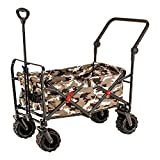 Camouflage Wide Wheel Wagon All Terrain Folding Collapsible Utility Wagon with Push Bar