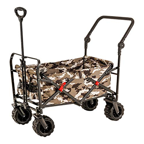 Camouflage Wide Wheel Wagon All Terrain Folding Collapsible Utility Wagon with Push Bar - Portable...