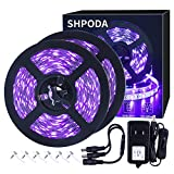 SHPODA 33ft LED Black Light Strip Kit,600 Units,385nm-400nm,12V Flexible Blacklight Fixtures,10M LED Ribbon,Non-Waterproof for Indoor,Birthday,Wedding,Dark Party