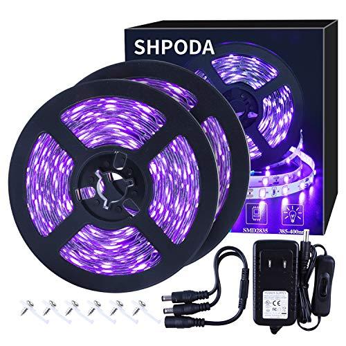 SHPODA 33ft LED Black Light Strip Kit,600 Units,385nm-400nm,12V Flexible Blacklight Fixtures,10M LED Ribbon,Non-Waterproof for Indoor,Birthday,Wedding,Dark Party
