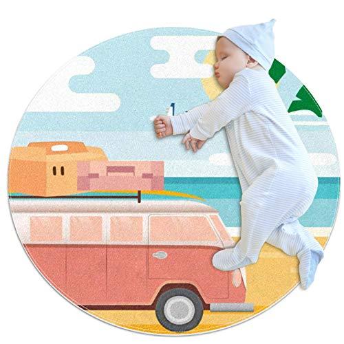 Alfombras ligeras Dibujos animados vans playa palmeras Alfombrilla para piso Alfombra suave Diámetro 27.6 pulgadas para sala de estar en casa Comedor Dormitorio