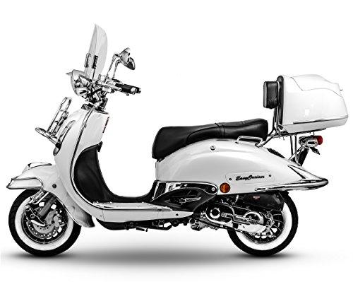 Retroroller Motorroller Roller Retro Scooter 50 ccm - 25 KmH Mofa EasyCruiser weiß