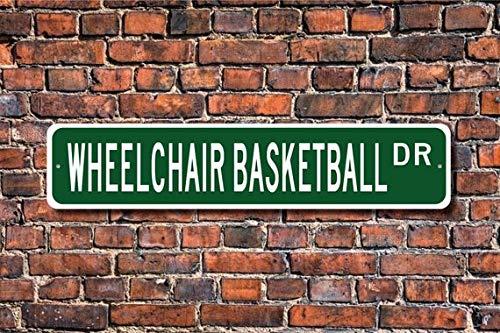 Fhdang Decor Rollstuhl-Basketball, Rollstuhl-Basketball Zeichen, Basketball Fan, Rollstuhl-Basketball Player Geschenk, Custom Street, Metall Schild, 10,2x 45,7cm