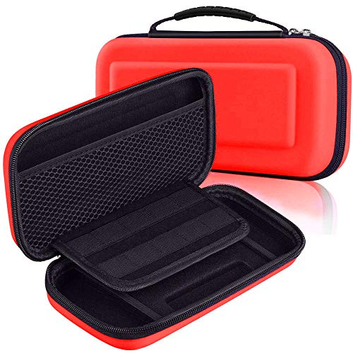 Mivofun Hartschalen-Reiseetui für Nintendo Switch, EVA-Hülle, wasserabweisend, Tragetasche, tragbare Tasche für Nintendo Switch Konsole & Spielzubehör (rot)