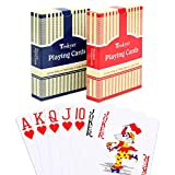 Teskyer Large Print Playing Cards, Poker Size Jumbo Index Deck of Cards, Linen Finish Surface, 2 Pack(Blue and Red)