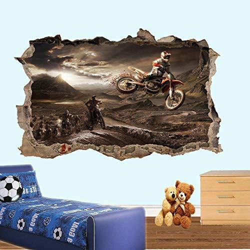 AINIYA Wandaufkleber Motocross Jumping Dirt Bike Wandaufkleber 3D Art Poster Aufkleber Wanddekoration