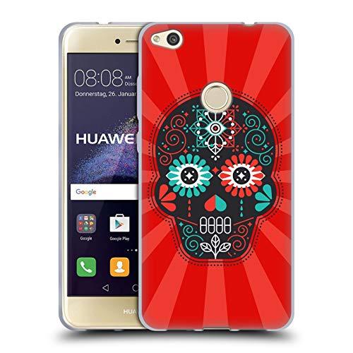 Head Case Designs Oficial Cat Coquillette Calavera de azúcar Diseño Surtido. Carcasa de Gel de Silicona Compatible con Huawei P8 Lite (2017)