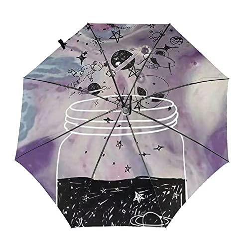 Donono Paraguas automático de tres pliegues 3d impresión el universo en la botella Protección UV portátil paraguas de lluvia dentro de impresión para uso diario