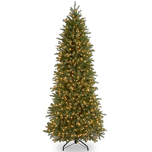 National Tree Company 'Feel Real' Pre-lit Artificial Christmas Tree | Includes Pre-Strung White Lights and Stand | Jersey Fraser Fir Slim Slim - 9 ft